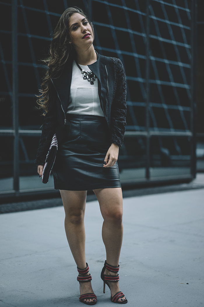 Leather Jacket And Leather Skirt | Jill Dress