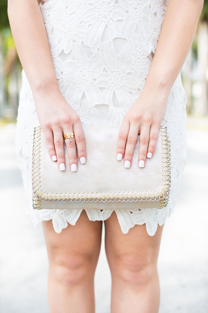 Silver Clutch with leather