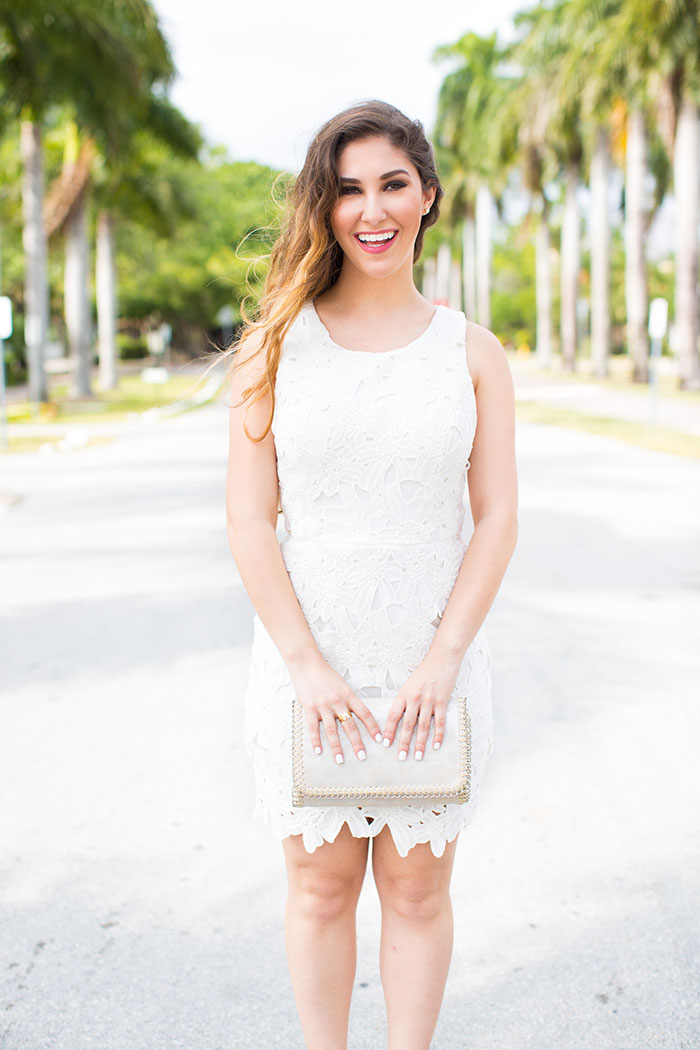 White Lace Dress with silver clutch