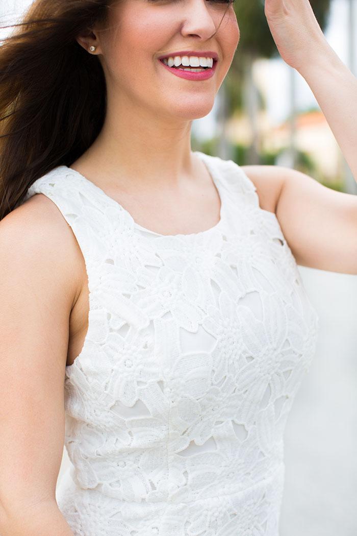 white lace dress details