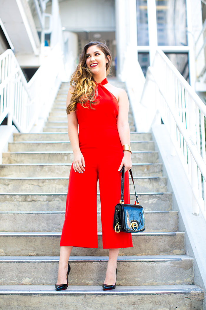Halter Style Red Romper