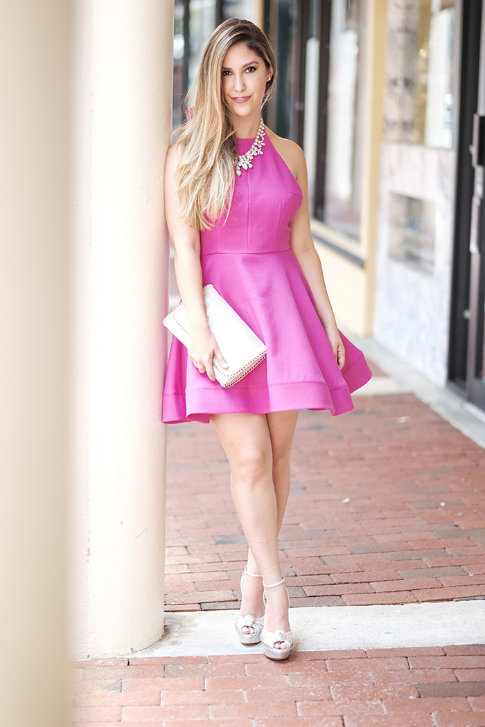 Pink fit and flare dress