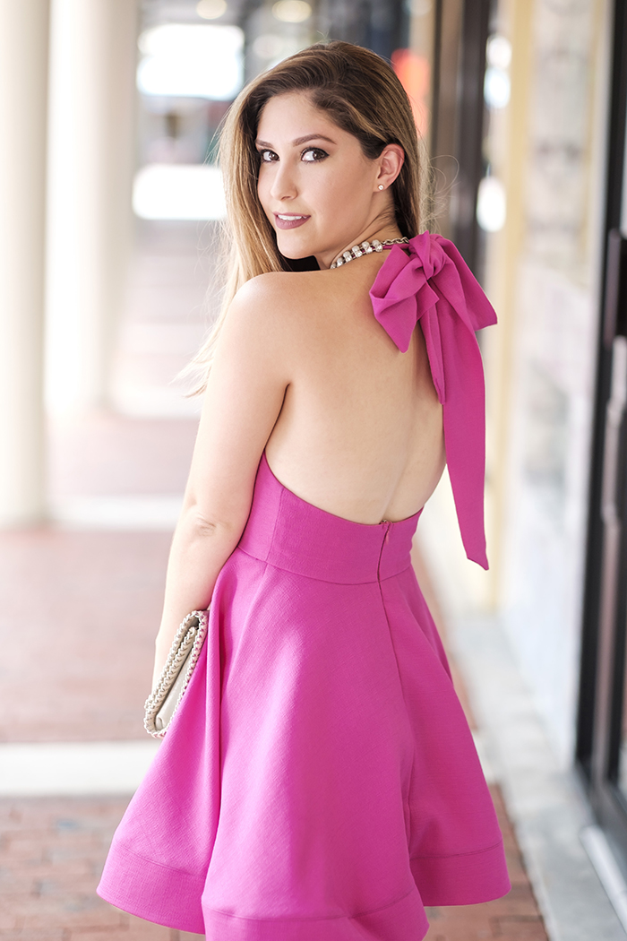 pink dress with bow